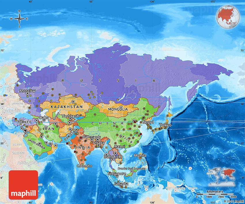 Political Map of Asia, lighten, land only