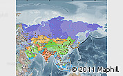 Political Map of Asia, semi-desaturated