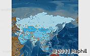 Political Shades Map of Asia, darken