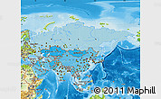 Political Shades Map of Asia, physical outside