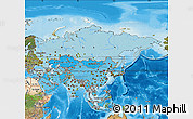 Political Shades Map of Asia, satellite outside, bathymetry sea