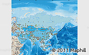 Political Shades Map of Asia, shaded relief outside, bathymetry sea