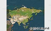 Satellite Map of Asia, darken
