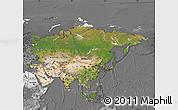 Satellite Map of Asia, desaturated