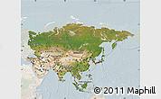 Satellite Map of Asia, lighten