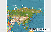 Satellite Map of Asia, political outside, satellite sea