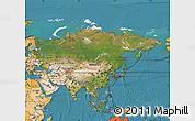 Satellite Map of Asia, political shades outside, satellite sea