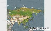 Satellite Map of Asia, semi-desaturated