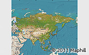 Satellite Map of Asia, shaded relief outside, satellite sea