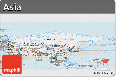 Classic Style Panoramic Map of Asia