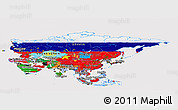 Flag Panoramic Map of Asia