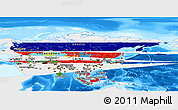 Flag Panoramic Map of Asia, single color outside, bathymetry sea