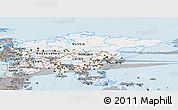 Gray Panoramic Map of Asia