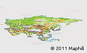 Physical Panoramic Map of Asia, cropped outside