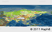Physical Panoramic Map of Asia, darken