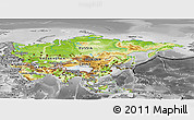 Physical Panoramic Map of Asia, desaturated