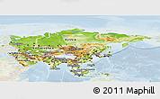 Physical Panoramic Map of Asia, lighten