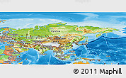 Physical Panoramic Map of Asia, political outside, shaded relief sea