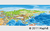 Physical Panoramic Map of Asia, political shades outside, shaded relief sea
