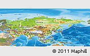 Physical Panoramic Map of Asia, satellite outside, shaded relief sea