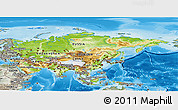 Physical Panoramic Map of Asia, semi-desaturated, land only