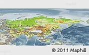 Physical Panoramic Map of Asia, semi-desaturated