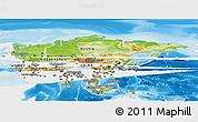 Physical Panoramic Map of Asia, single color outside