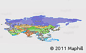 Political Panoramic Map of Asia, cropped outside