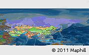 Political Panoramic Map of Asia, darken