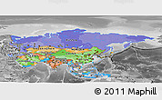 Political Panoramic Map of Asia, desaturated
