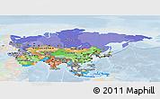 Political Panoramic Map of Asia, lighten