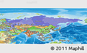 Political Panoramic Map of Asia, physical outside