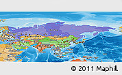 Political Panoramic Map of Asia, political shades outside