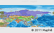Political Panoramic Map of Asia, satellite outside, bathymetry sea