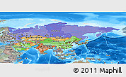 Political Panoramic Map of Asia, semi-desaturated, land only