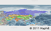 Political Panoramic Map of Asia, semi-desaturated