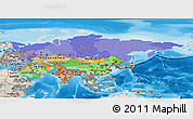 Political Panoramic Map of Asia, shaded relief outside, bathymetry sea