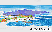 Political Panoramic Map of Asia, single color outside