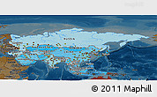 Political Shades Panoramic Map of Asia, darken