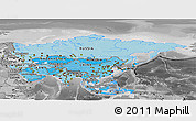 Political Shades Panoramic Map of Asia, desaturated