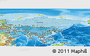 Political Shades Panoramic Map of Asia, physical outside
