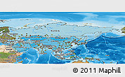 Political Shades Panoramic Map of Asia, satellite outside, bathymetry sea