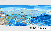 Political Shades Panoramic Map of Asia, semi-desaturated, land only