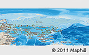 Political Shades Panoramic Map of Asia, shaded relief outside, bathymetry sea