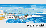 Political Shades Panoramic Map of Asia, single color outside
