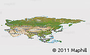 Satellite Panoramic Map of Asia, cropped outside