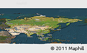 Satellite Panoramic Map of Asia, darken