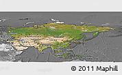 Satellite Panoramic Map of Asia, desaturated
