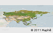 Satellite Panoramic Map of Asia, lighten