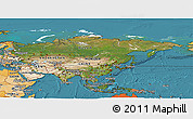 Satellite Panoramic Map of Asia, political shades outside, satellite sea